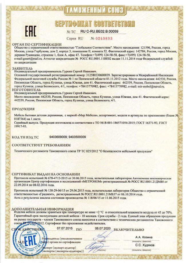 Сертификат о соответствии