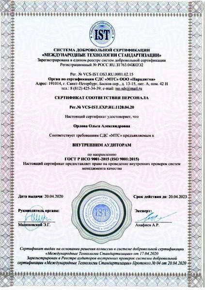 Сертификат соответствия персонала ISO 9001:2015