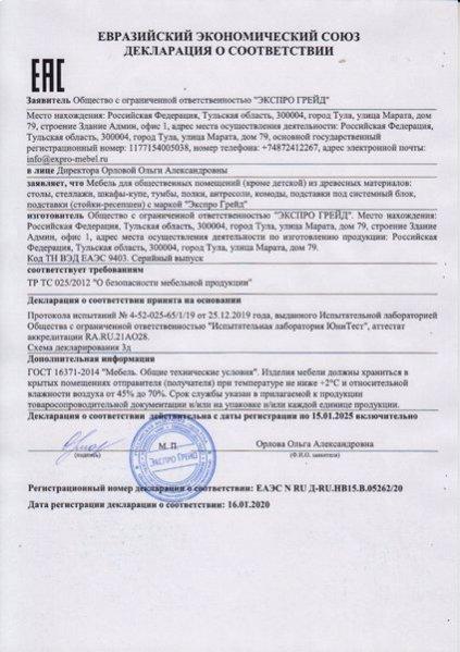 Декларация о соответствии ТР ТС 025-2012