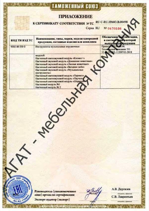 Сертификат на мебель для дошкольных учреждений