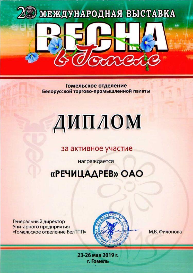 Диплом в 20 международной выставке «Весна в Гомеле»